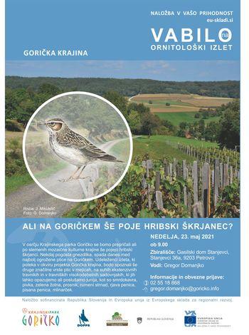 Vabilo na ornitološki izlet v nedeljo, 23.05.2021 v Stanjevcih