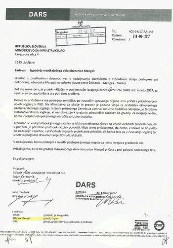 Izgradnja manjkajočega dela obvoznice Želodnik Vodice v Občini Mengeš - obvestilo DARS o trenutnem stanju postopkov