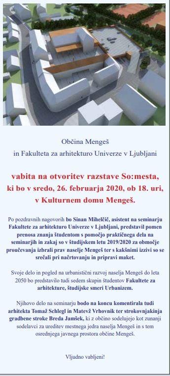 Otvoritev razstave So:mesta, dela študentov seminarja Urbanističen razvoj naselja Mengeš