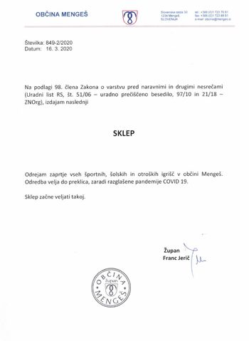 Sklep o zaprtju vseh športnih, šolskih in otroških igrišč v občini Mengeš