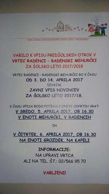 JAVNI POZIV K VPISU NOVINCEV V VRTEC RADENCI - RADENSKI MEHURČKI ZA ŠOL. LETO 2017/18