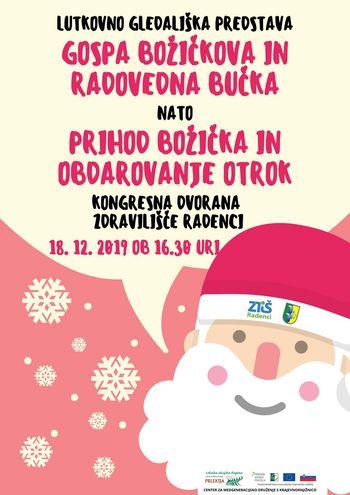 Lutkovna predstava Gospa Božičkova in Radovedna bučka ter obdarovanje otrok