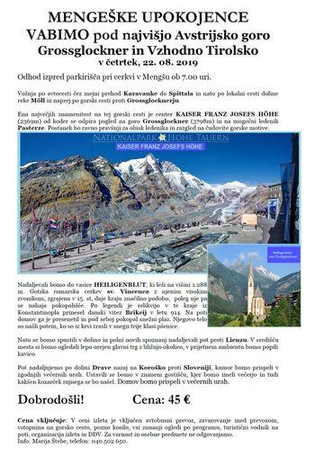 Mengeške upokojence vabimo pod najvišjo Avstrijsko goro Grossglockner in Vzhodno Tirolsko v četrtek, 22. 08. 2019