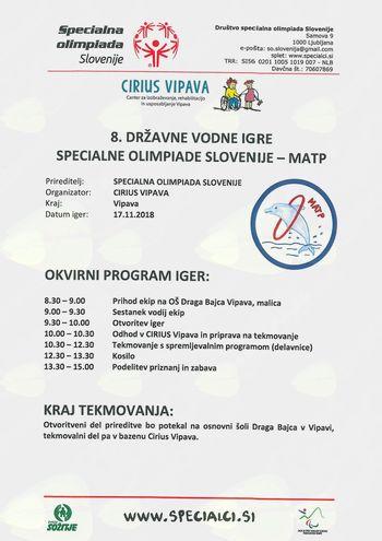 8. državne vodne igre SPECIALNE OLIMPIADE SLOVENIJE – MATP