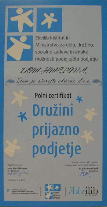 Polni certifikat Družini prijazno podjetje