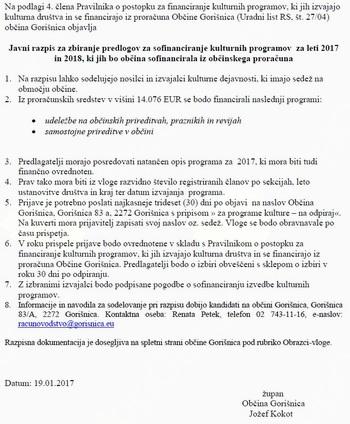 Javni razpis za sofinanciranje kulturnih programov za leti 2017 in 2018