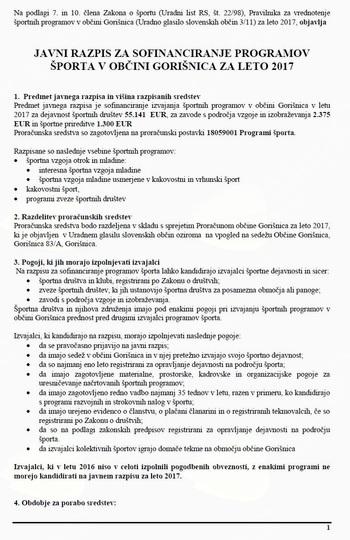 JAVNI RAZPIS ZA SOFINANCIRANJE PROGRAMOV ŠPORTA V OBČINI GORIŠNICA ZA LETO 2017