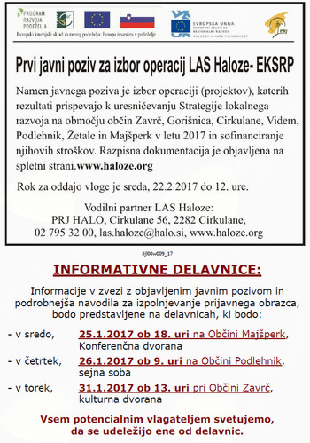 Prvi javni poziv za izbor operacij LAS Haloze- EKSRP