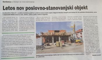 Nov poslovno stanovanjski objekt v Gorišnici