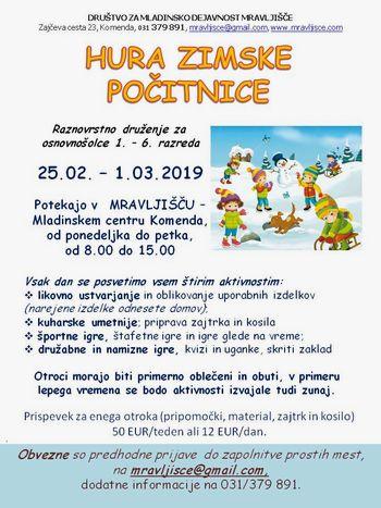 HURA POČITNICE, zimsko počitniško varstvo 2019