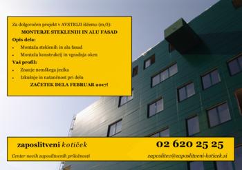 PROSTO DELOVNO MESTO MONTER STEKLENIH IN ALU FASAD (AUT)