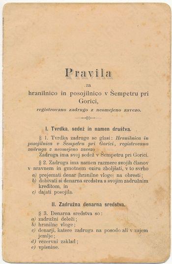 120 let mineva, kar je bila v Šempetru ustanovljena hranilnica in posojilnica