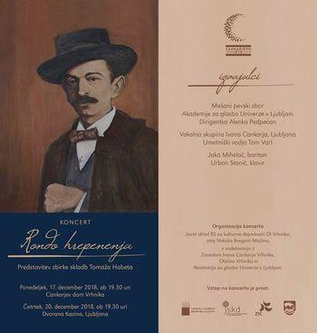 KONCERT RONDO HREPENENJA, predstavitev zbirke skladb Tomaža Habeta, na besedila Ivana Cankarja