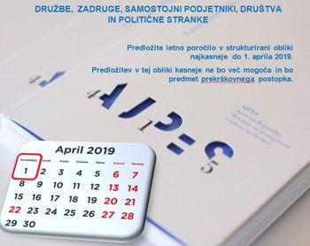 Rok za predložitev letnih poročil je 1. april 2019