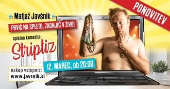 Matjaž Javšnik: poslovilna predstava Striptiz (na spletu)