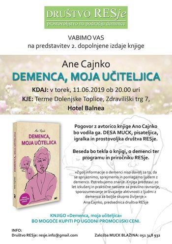 Predstavitev knjige in delavnice Demenca, moja učiteljica