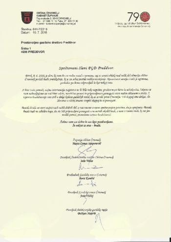 PGD Preddvor prejelo zahvalo iz Črnomlja