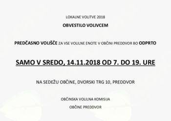 Obvestilo volivcem: Predčasno volišče v Preddvoru
