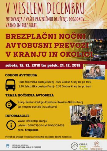 Brezplačni nočni prevozi v Kranju in okolici