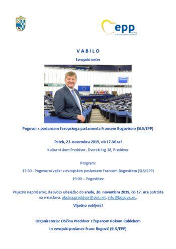 Pogovor s poslancem Evropskega parlamenta Francem Bogovičem (SLS/EPP)