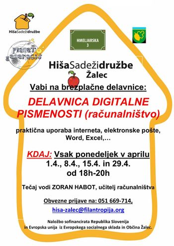 DELAVNICA DIGITALNE PISMENOSTI (računalništvo) -vsak ponedeljek v aprilu 2019