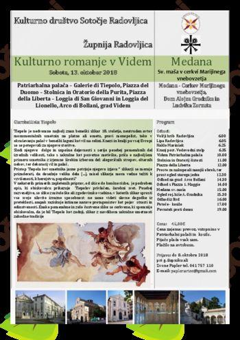 Kulturno romanje v Videm 13. 10. 2018