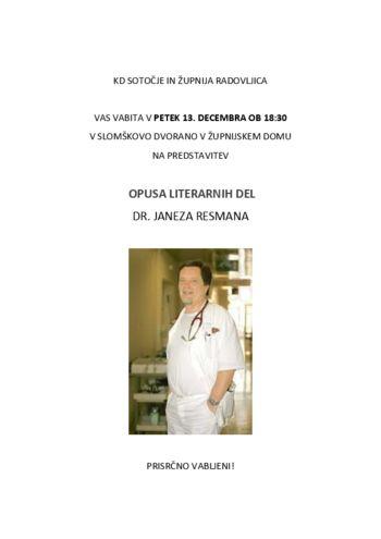 Opus literarnih del, dr. Janez Resman