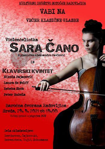 Večer klasične glasbe: Violončelistka Sara Čano z gostujočim klavirskim kvintetom