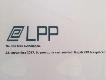 Na Dan brez avtomobila, 22. septembra 2017, bo prevoz na vseh mestnih linijah LPP brezplačen