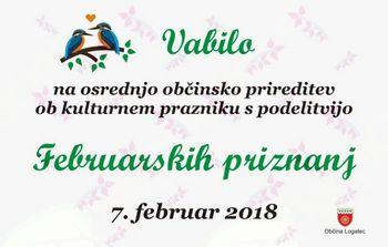 Osrednja občinska prireditev ob kulturnem prazniku s podelitvijo Februarskih priznanj 2017