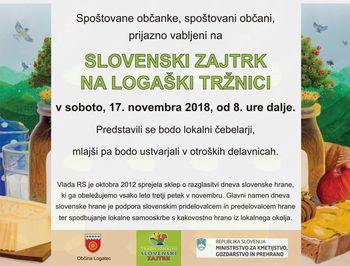 Slovenski zajtrk na logaški tržnici - Dan slovenske hrane 2018