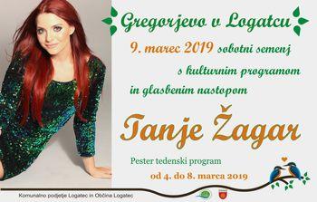 Gregorjevo 2019 v Logatcu - sobotni sejem, kulturni program in glasbeni nastop Tanje Žagar