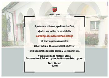 Osrednja občinska komemoracija  ob dnevu spomina na mrtve 2019