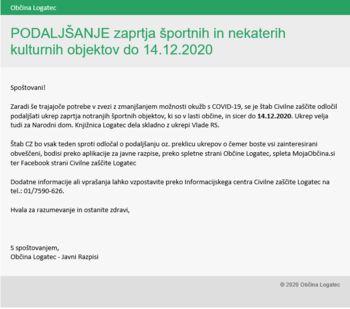 Podaljšanje zaprtja športnih objektov in nekaterih kulturnih objektov do 14. 12. 2020