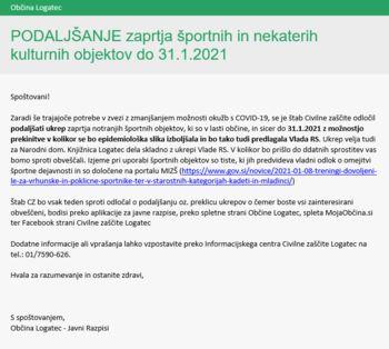 Podaljšanje zaprtja športnih in nekaterih kulturnih objektov do 31. januarja 2021