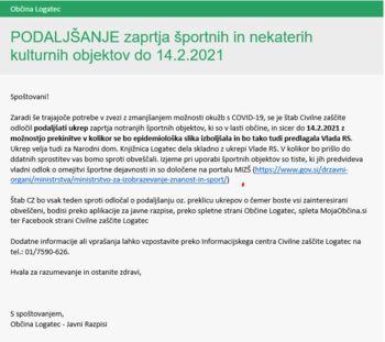 Podaljšanje zaprtja športnih in nekaterih kulturnih objektov do 14. 2. 2021