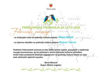 Februarska priznanja v občini Logatec za leto 2020