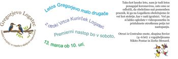 Gregorjevo ali ko se ptički ženijo - z otroki Vrtca Kurirček Logatec