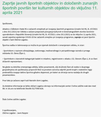 Zaprtje javnih športnih objektov in določenih zunanjih športnih površin ter kulturnih objektov do vključno 11. aprila 2021