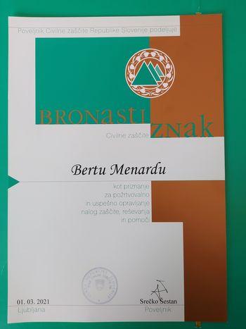 Županu Občine Logatec podeljen Bronasti znak Civilne zaščite RS