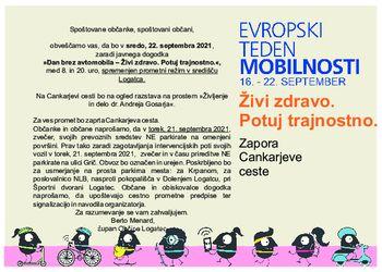 Dan brez avtomobila 2021 v Logatcu -Galerija na prostem - Življenje in delo dr. Andreja Gosarja
