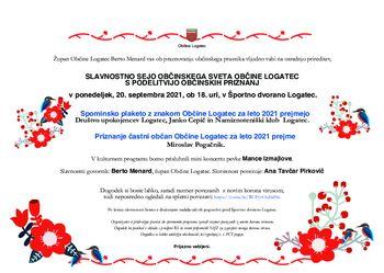 Slavnostna seja Občinskega sveta Občine Logatec s podelitvijo občinskih priznanj 2021