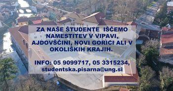 Iščemo nastanitve za študente Univerze v Novi Gorici