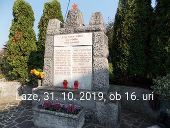 Vabilo na žalno slovesnost pred Dnevom spomina na mrtve  pri spomeniku NOB v Lazah