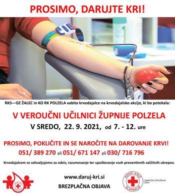 Krvodajalska akcija v veroučni učilnici Župnije Polzela, 22. 9. 2021, od 7. do 12.