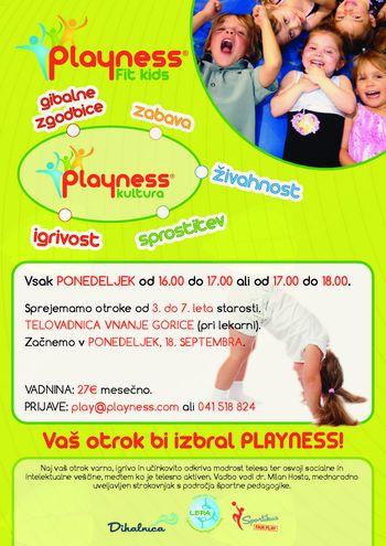 Playness gibalne urice (3-7 let) ob ponedeljkih v dvorani Vnanje Gorice
