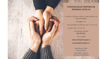 Psihosocialna podpora ob epidemiji Covid-19