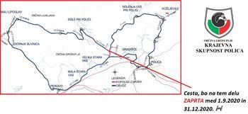 JAVNO OBVESTILO - Zapora ceste pri izgradnji zadrževalnika Veliki potok pri Polici
