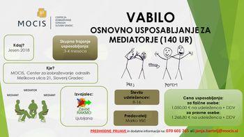 Na MOCISU bo potekalo osnovno usposabljanje za mediatorje (140 ur)