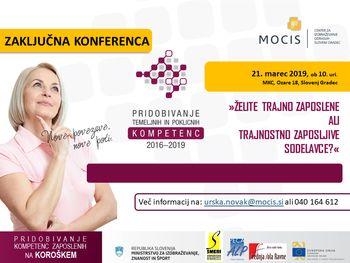 ZAKLJUČNA KONFERENCA -  Pridobivanje temeljnih in poklicnih kompetenc (2016–2019) na Koroškem